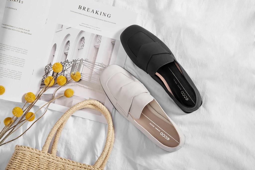 (情境圖10)【ANINE SQUARED】樂福鞋款式延續著品牌舒適時尚的基因,應用ECCO獨創的「FLUIDFORM一體成型製鞋科技」,並採用1.5公分的低跟設計打造輕盈又回彈的高度舒適感。_黑_石灰白_NT$6,380