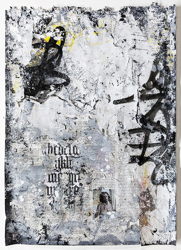 Zavier Ellis 'Freiheit V', 2021 Acrylic, emulsion, gloss, spray paint, collage on paper 59.4x42cm