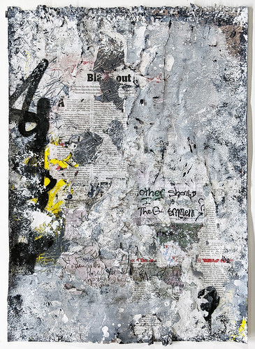 Zavier Ellis 'Freiheit II', 2021 Acrylic, emulsion, gloss, spray paint, collage on paper 59.4x42cm