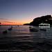 Parga harbour at dusk