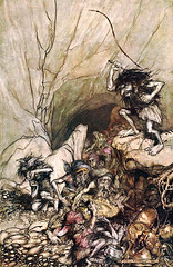 RACKHAM, Arthur. Alberich drives in a band of Niblungs.