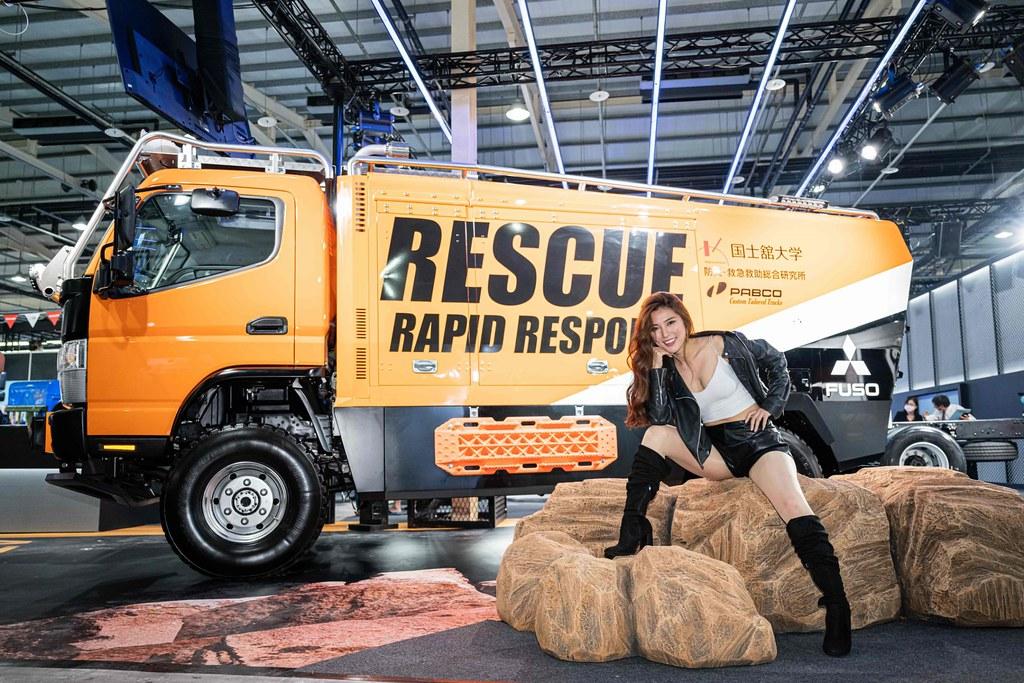 圖五、FUSO為喚起大眾對於防災意識的重要,與日本國士館大學Kokushikan University,合作開發ATHENA救援概念車,為今年台中商車展一大亮點。