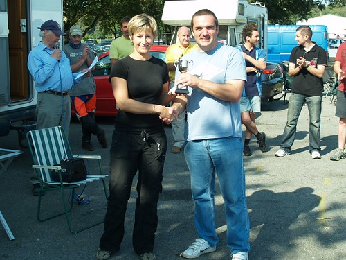 Shaun Hazlewood Class C winner at Oulton Park receives his trophy from Joanne