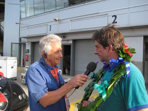 Bob Constanduros and winner Tim Lewis at Donington