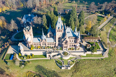 Drachenburg Castle in Königswinter, Germany, a view from above