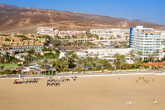 Aerial view of the promenade Calle Acantilado in Morro Jable on Fuerteventura, Canary Islands