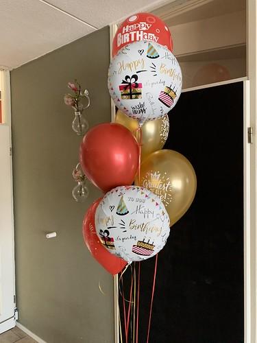 Ballonboeket Verjaardag Rood Goud