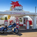 Ellinsburg, WA - USA - 04-16-2021: Crossett's Red Horse Diner Mobilgas Station Road Side Attraction on a sunny spring day