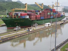 A freighter traversing the Panama Canal