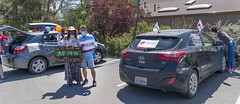 Setting up a Car Parade to Demonstrate for Universal Health Care