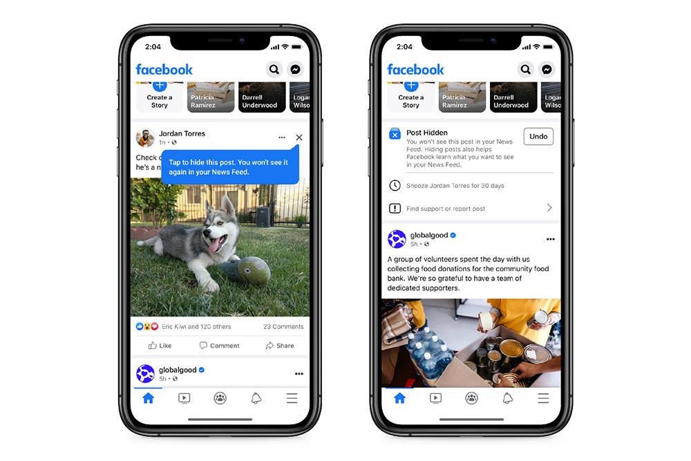 圖說:Facebook-將測試新的貼文設計,協助用戶隱藏動態消息的特定貼文