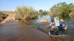 Electrofishing at an instream crossing