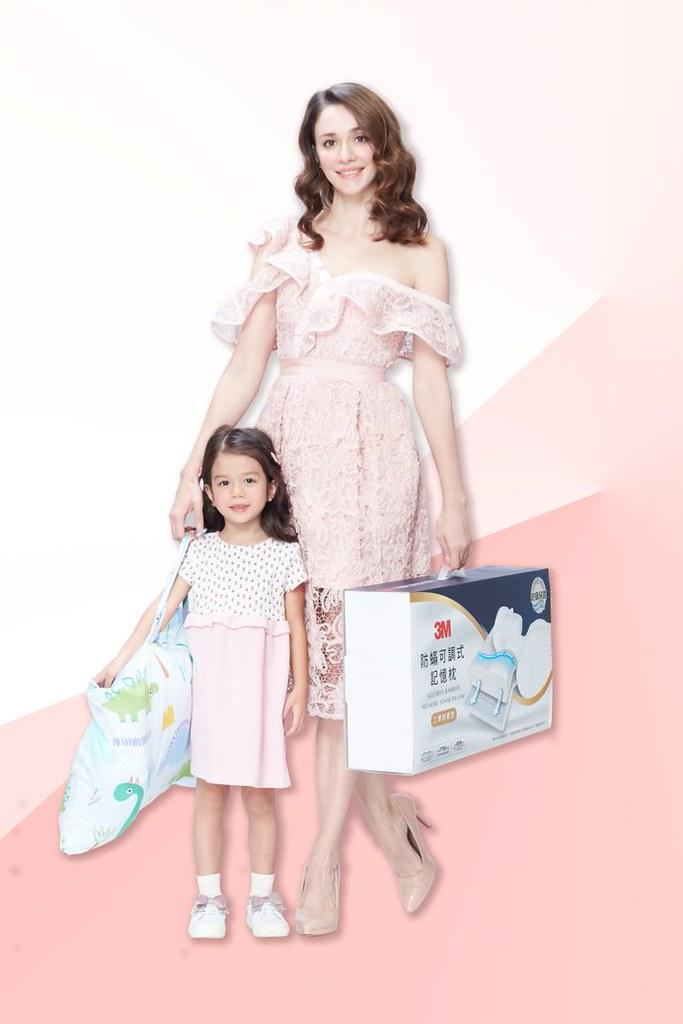 瑞莎與混血女兒Nika共同代言3M防蟎寢具 (3M提供)