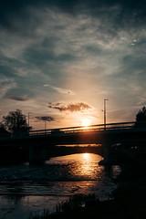 Bridge at night with sunset.