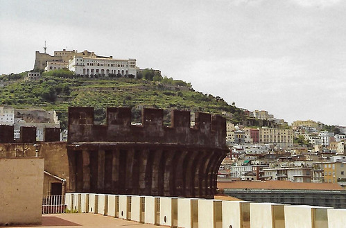 Napoli, Castello Nuovo, view of Castel Sant'Elmo & Certosa di San Martino