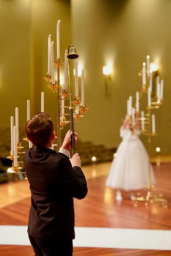 Lighting the wedding candelabra, Morrison, Colorado