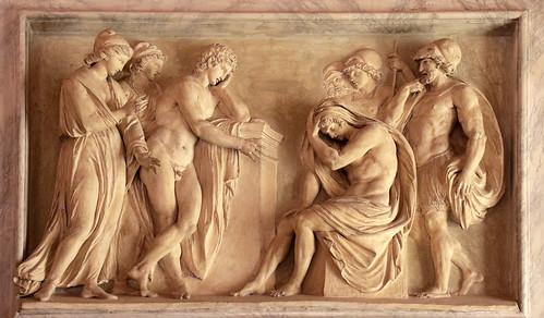 Achille apprende da Antioco la morte di Patroclo - bassorilievo in stucco (1780) di Vincenzo Pacetti (1846-1820) - sala del vaso (o di Paolina) Galleria Borghese, Roma