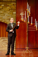 Lighting the wedding candelabra, Morrison, Colorado