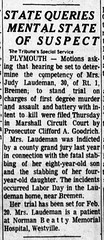 1967 - Judith Laudeman mental state - South Bend Tribune - 13 Feb 1967