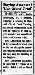 1967 - Judith Laudeman competant - South Bend Tribune - 22 Feb 1967