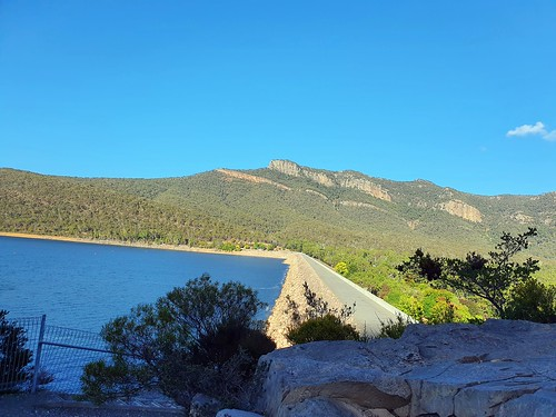 Looking back across the dam at Lake Bellfield