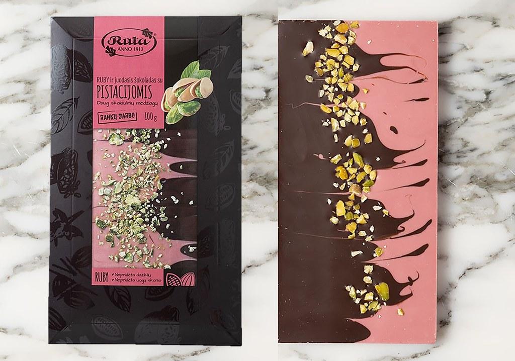 誠品線上「浪漫美食家零食博覽會」一指遊覽世界13國零食 立陶宛Ruta國寶級巧克力 開心果紅寶石巧克力 原價240元,特價216元。