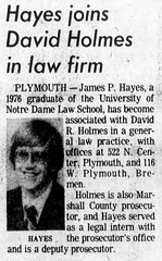 1976 - Jim Hayes joins Dave Holmes lawfirm - South Bend Tribune - 13 Jun 1976