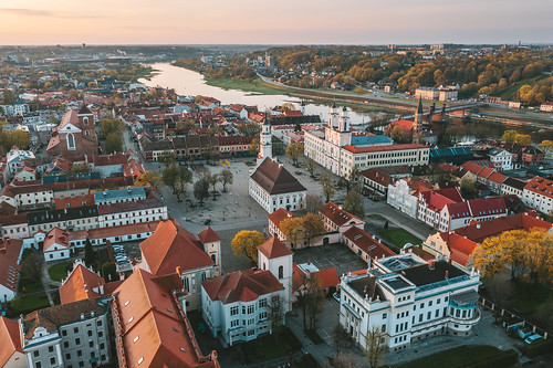 Old town   Kaunas aerial