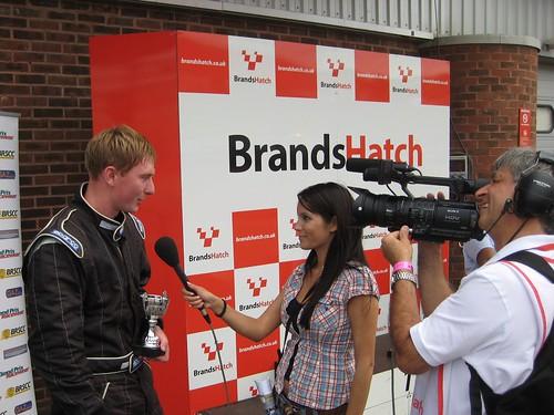 Gareth being interviewed after his Brands podium