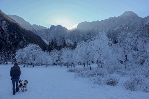 Walking through the mountains by Lago di Fusine