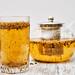 Herbal tea on wooden background
