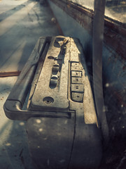 Old broken radio with cassette tape player