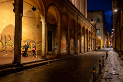 Typical arcades in Bologna, Italy