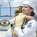 USS Emory S. Land (AS 39) returns to Naval Base Guam following a maintenance period.