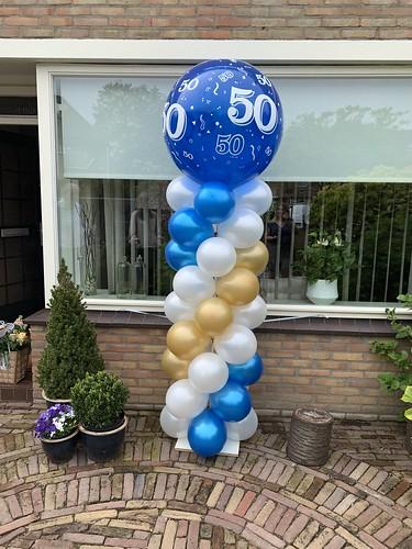 Ballonpilaar Breed Rond 50 Jaar Verjaardag Abraham