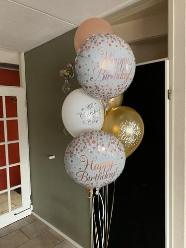 Ballonboeket Verjaardag Wit Goud