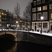 Snow-covered Bridge 19 in the Herengracht over the Blauwburgwal