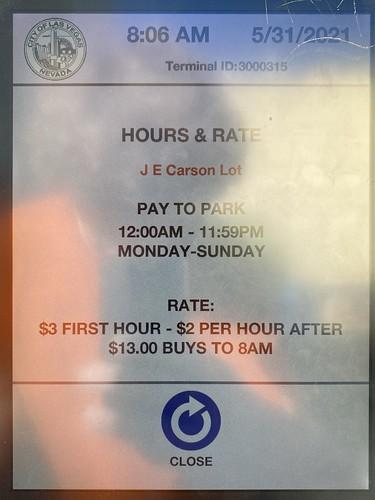 Parking Rates, Downtown Las Vegas, May 2021