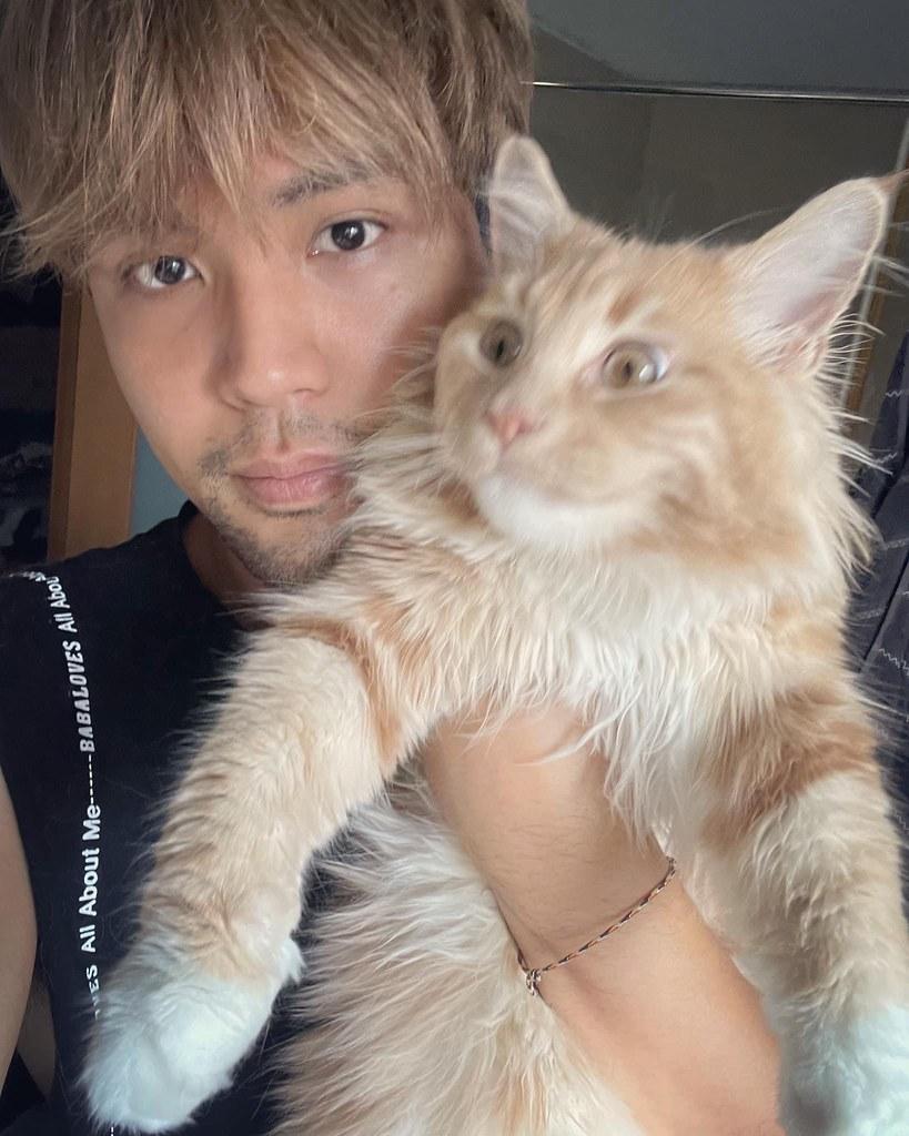 新聞照片-陳零九抱著愛貓之一橘丸。(取材於陳零九IG)