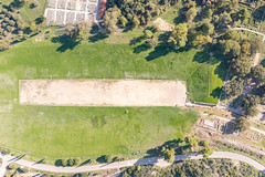 Top down aerial of the Stadium in Olympia, Greece
