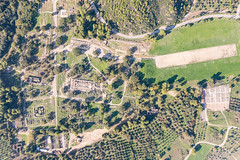 Top down aerial of Ancient Olympia in Greece