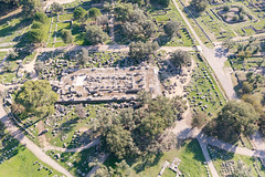Aerial view of the Temple of Zeus in Olympia, Greece