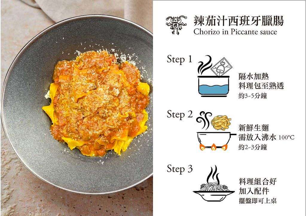 隨意鳥地方大安東尼餐廳「PASTA隨意煮麵吧」1+1自選生麵醬料理包_辣茄汁西班牙臘腸醬