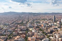 Aerial view of La Sagrada Familia, Barcelona, Spain