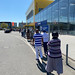 Queue at IKEA during the coronavirus lockdown in Cologne, Germany