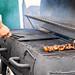 teriyaki beef skewers on the grill