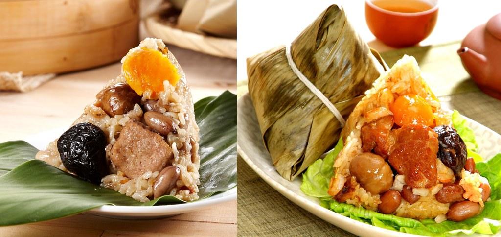 誠品線上推出由「台菜小天王」名廚溫國智監製的南北名粽。(左圖:南部粽|右圖:北部粽)