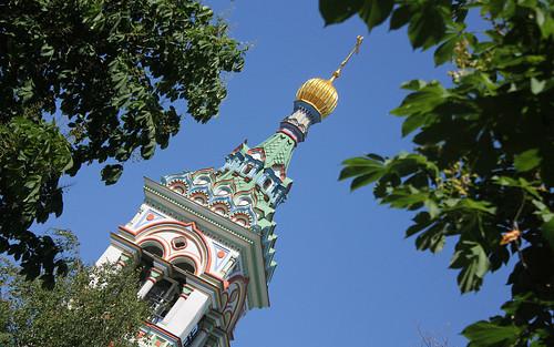 Russian Federation, Orthodox Moscow,  the Bell tower fragment of Saint Nicholas of Myra Church since 1775,  Rogozhsky Cemetery, Rogozhskaya Yamskaya sloboda, Rogozhsky Posyolok Street, Nizhegorodsky District.