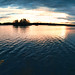 Wide open sunset over water panorama