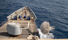 USS Monterey (CG 61) conducts a live-fire exercise in the Arabian Sea.